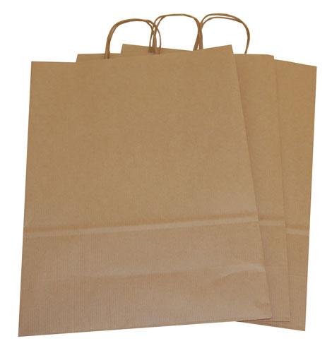 Plain Paper Carrier Bags Brown 320 x 120 x 410mm-1780