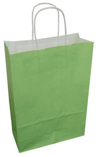 Paper Carrier Bags Lime Green 220 x 100 x 310mm-0