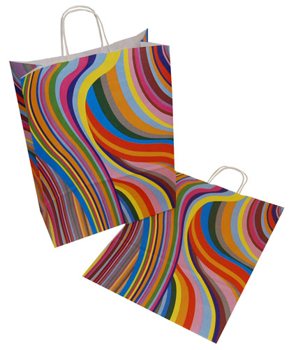 Paper Carrier Bags 70's Retro 320 x 140 x 410mm-0