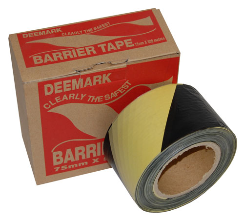 Barrier Tape Yellow and Black 75mm x 500m-2049