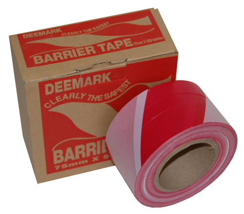 Barrier Tape Red and White 75mm x 500m-2045