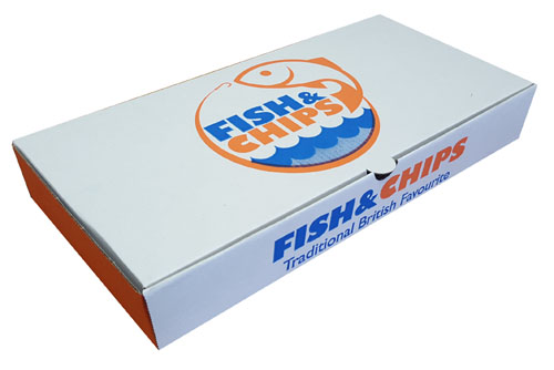 """Cardboard Fish and Chip Boxes Cardboard 12""""-0"""