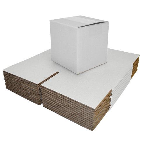 """White Single Walled Boxes 203 x 203 x 203mm (8 x 8 x 8"""")-0"""