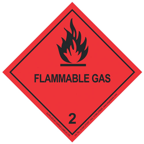 Flammable Gas Labels 100mm x 100mm-0