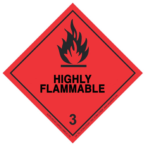 Highly Flammable Labels 100mm x 100mm-0