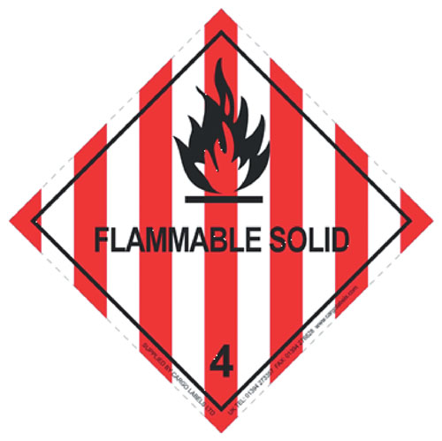 Flammable Solid Labels 100mm x 100mm-0