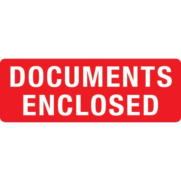 DOCUMENTS ENCLOSED Labels 89mm x 32mm-0