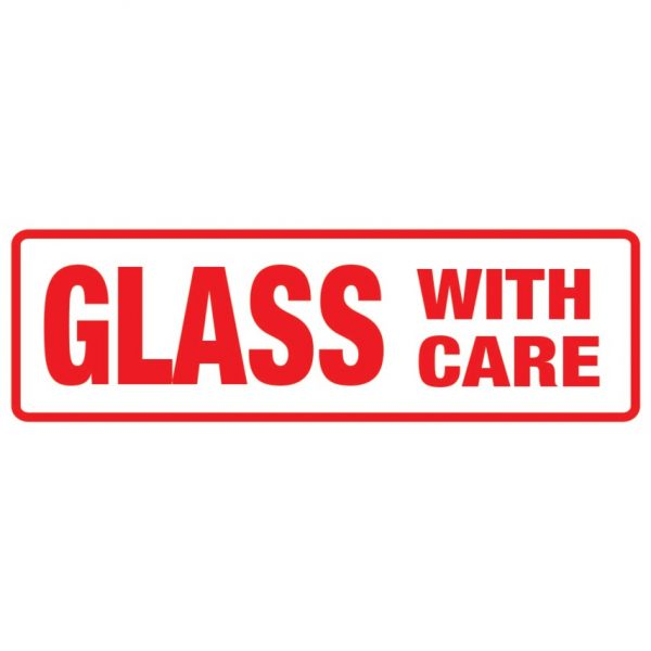 GLASS WITH CARE Labels 148mm x 50mm-0