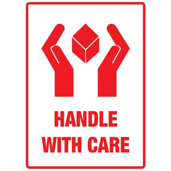 HANDLE WITH CARE Labels 108mm x 79mm-0