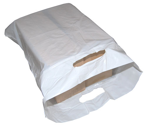 "Polythene Punched Handle Carrier Bags 15"" x 18"" -3660"