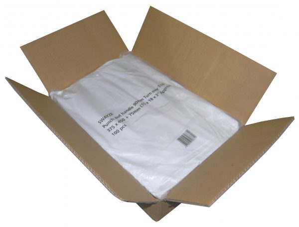 "Polythene Punched Handle Carrier Bags 15"" x 18"" -3659"
